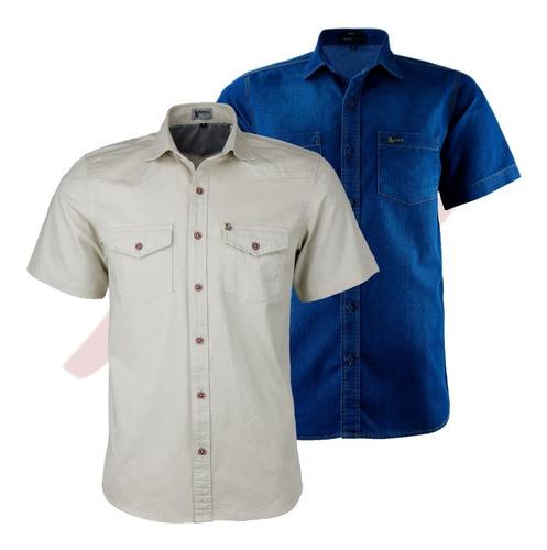 Kit 2 Camisas 2 Bolsos Luxo Amil 1 1695 Jeans + 1 1628 Brim