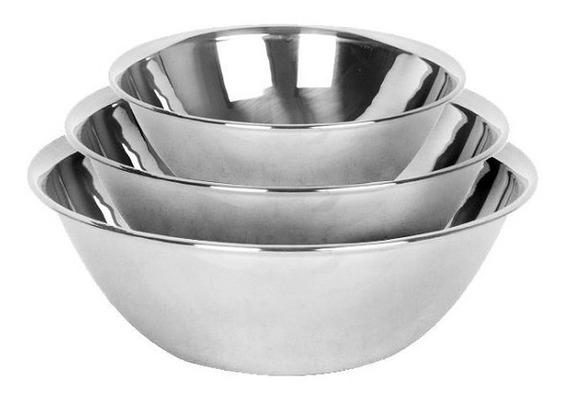 Set X3 Bowls Ensaladeras De Acero Inoxidable Reposteria