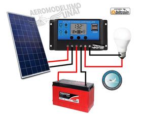 Controlador De Carga Solar 20a 12 / 24v Pwm Com Lcd E 2 Usb