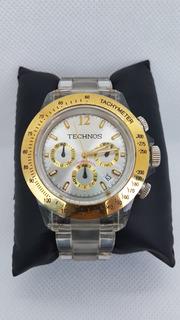 Relógio Technos Dourado Com Pulseira Acrilico Transparente