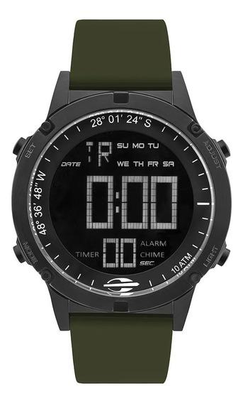 Relógio Masculino Digital Preto E Verde Militar Mormaii +nf