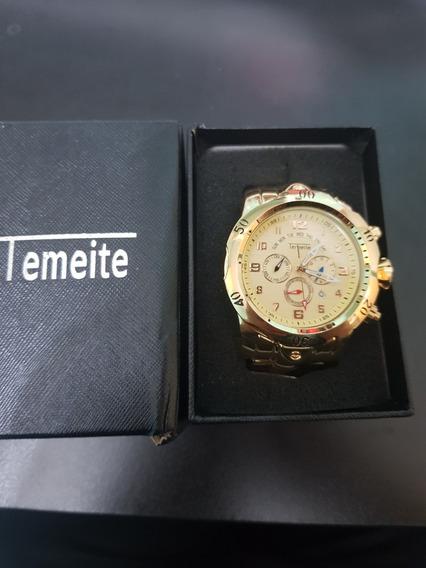 Relógio Masculino Temeite Big Gold Timer