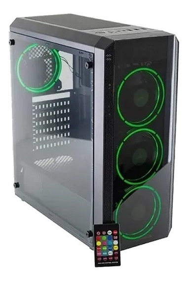 Gabinete Pc Gamer Aureox Hydra Arx 330g Mid Tower Fan X4 Rgb