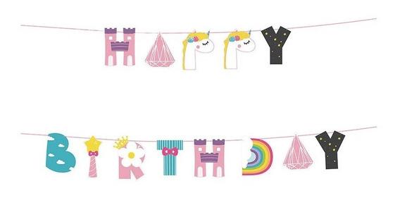 Banner Feliz Cumpleaños Fiesta Decoración Unicornio