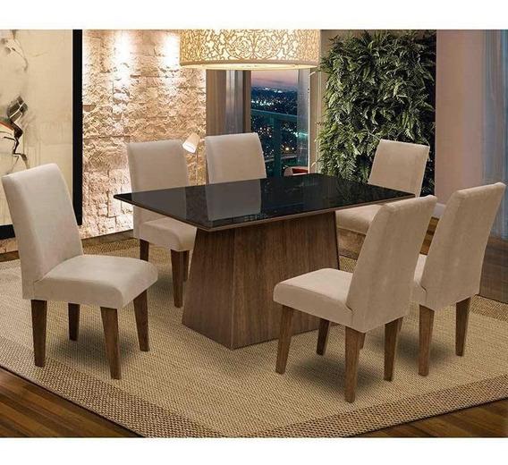 Conjunto De Mesa Sala De Jantar Tampo De Vidro E 6 Cadeiras