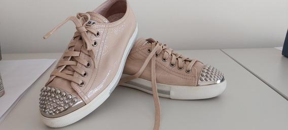 Zapatillas Usadas - Nude Con Tachas Plata. Impecables