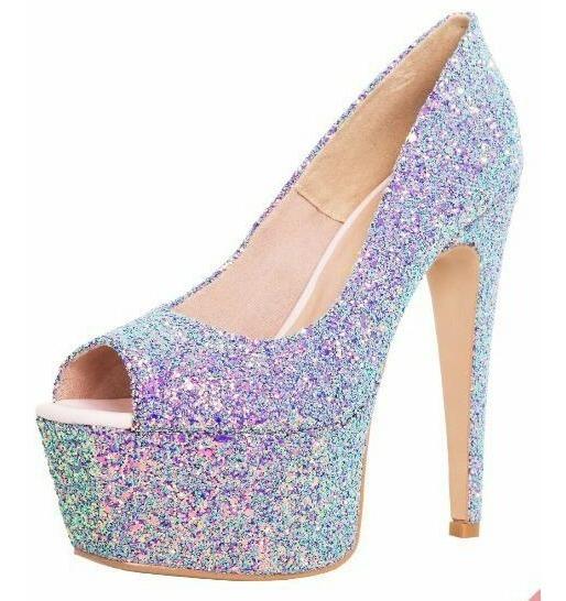 Sapato Salto Alto Dom Amazona Azul Glitter Furtacor Cód 33