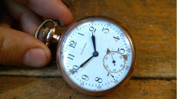 Reloj De Bolsillo Antiguo Waltham Suizo Baño De Oro