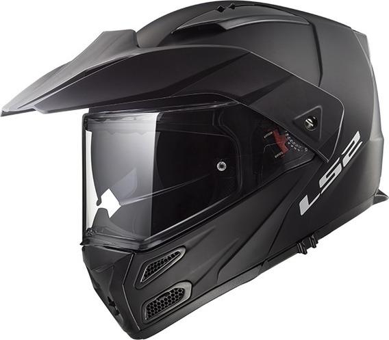 Casco Rebatible Moto Ls2 Oficial 324 Metro Evo Negro Mate
