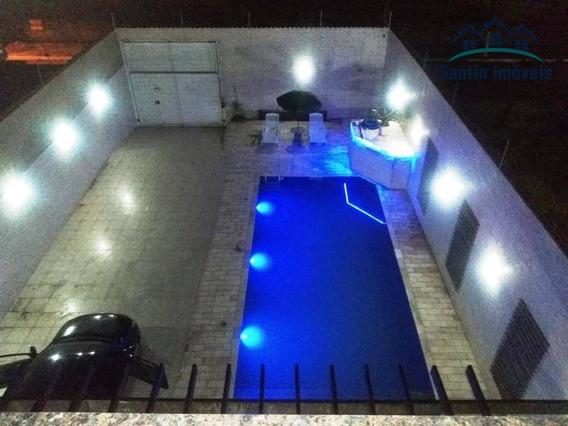 Sobrado Com 4 Dormitórios (01 Suíte)cozinha Planejada,piscina,churrasqueira,08 Vagas À Venda, 200 M² Por R$ 630.000 - Solemar - Praia Grande/sp - So0314