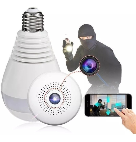 Camara Ip Espia Lampara Foco Wifi Inalambrica Seguridad Hd