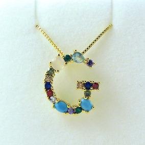 acff8ca35a20 Collar Dije Inicial Letra Arcoiris Zirconias Colores Rainbow