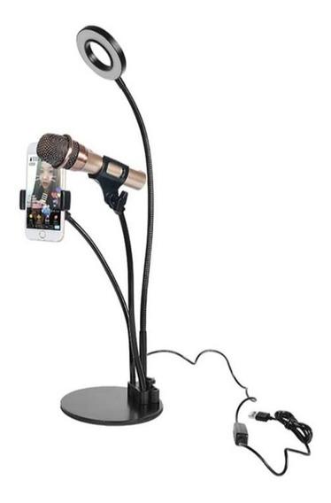 Soporte Para Celular Y Micrófono Con Aro De Luz