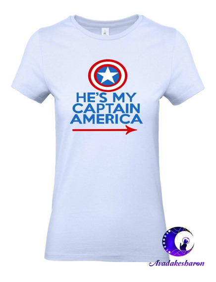 Camiseta Estampada De Parejas Capitan America Y Peggy Marvel