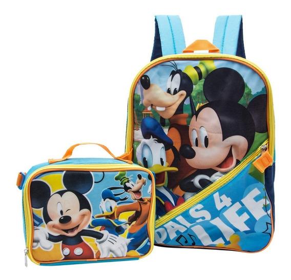Kit Escolar Mickey E Sua Turma Mochila M + Lancheira Disney