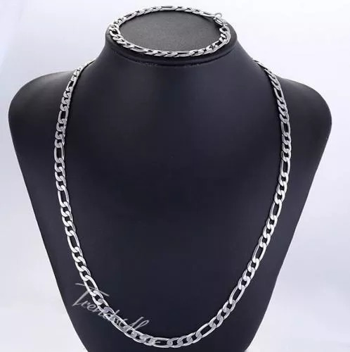 Conjunto Corrente Pulseira Masculino Aço Inox +colar Com Asa