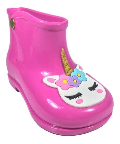 Bota Galocha Meninas Baby Unicórnio,bege Nude, Pink Cristal