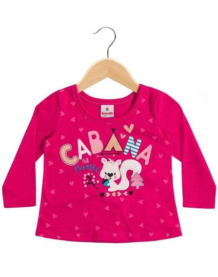 Blusa Rosa Manga Longa Para Bebê Menina Brandili