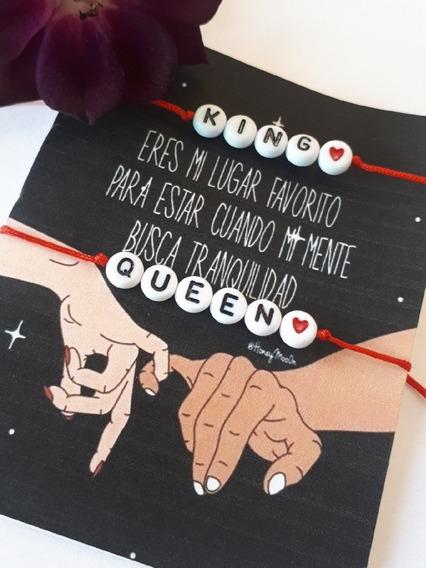 Pulseras Hilo Rojo King Queen Bff Novios Esposos Regalo