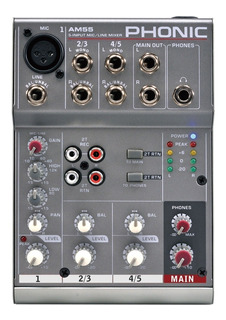 Phonic Am55 Mixer De 1 Entrada Xlr O Linea Y 2 Stereo Con Eq