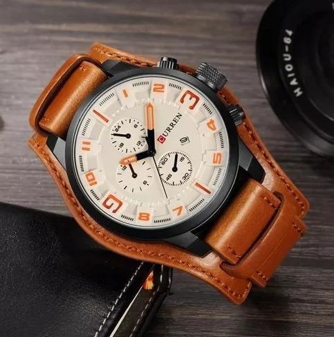 Relógio Masculino Curren 8225 Couro Bracelete Promoção