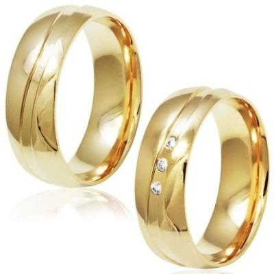 Par Aliança Ouro 18k 750 Canal Polida 10 Gramas 6mm Diamante
