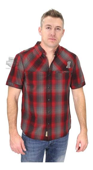 Harley Davidson Camisa Slim Red Plaid Snap #1 Original Impor