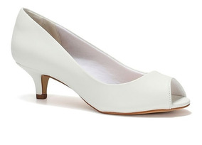 Peep Toe Para Noivas Branco Salto Baixo Spaço Criativo