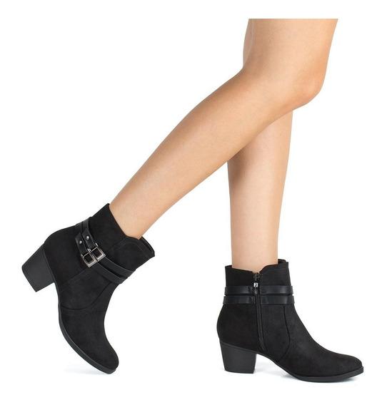 Bota Piccadilly Ankle Boot Salto Grosso Feminina 150123