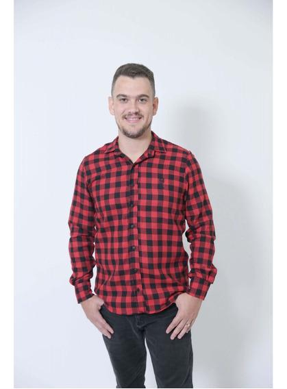 Camisa Social Xadrez Flanelada Lenhador Adulta