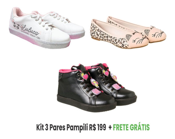 Kit 3 Sapatos Feminino Infantil Sapatilhapampili Oferta