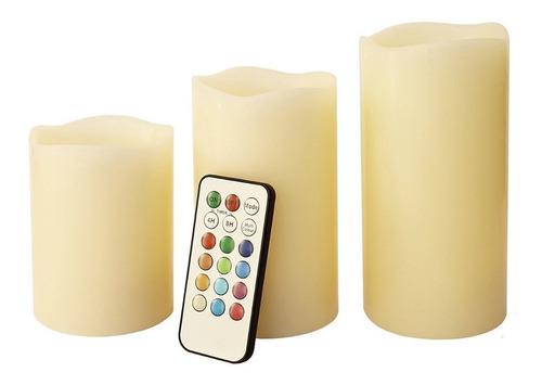 Pack 3 De Velas Led Control Remoto / Hb Importaciones