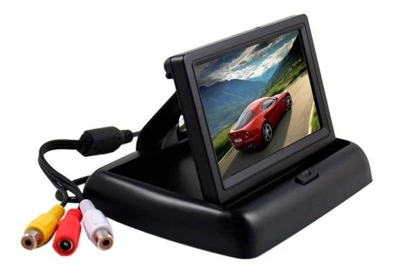 Tela Monitor 4.3 Para Carro Câmera De Ré Lcd Retrátil Dvd