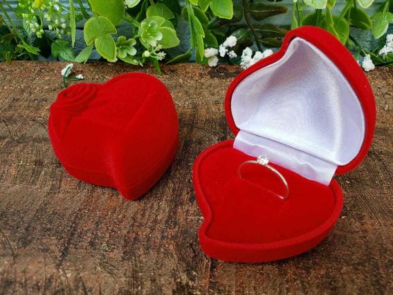 Caixinha De Coração Vermelho, Branca Por Dentro (alianças)