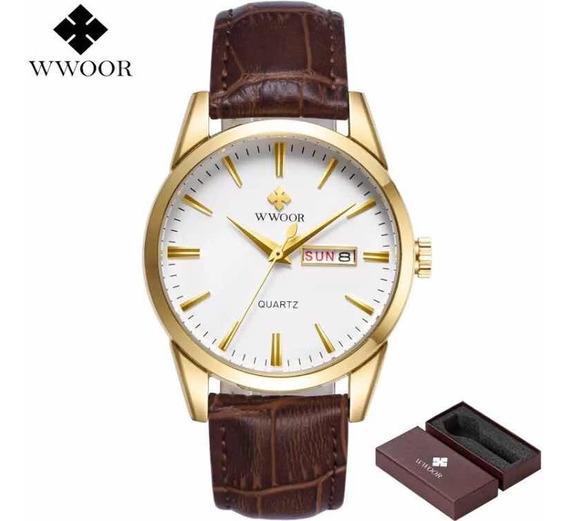 Relógio Quadrado Masculino Wwoor Luxo Couro Gold Preto 8801