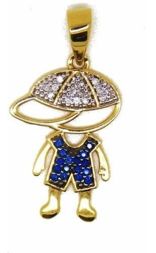 Menino Ouro 18k/750 Pedras Naturais Diamantes E Safiras