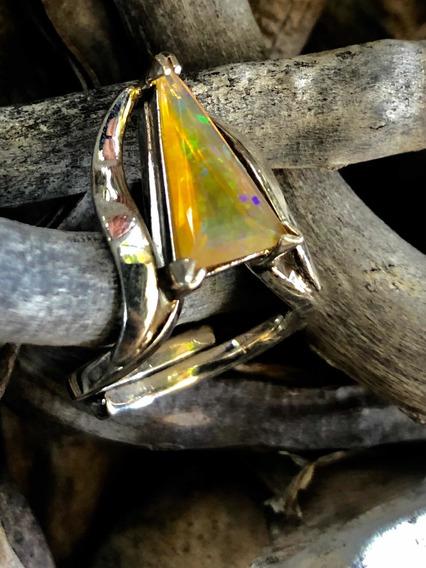 Anillo En Plata Con Opalo Amarillo