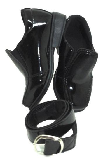 Sapato Social Infantil Masculino Preto Verniz Liso +cinto