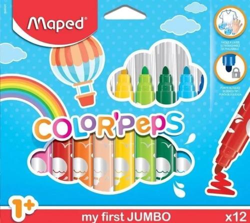 Imagen 1 de 4 de Marcadores Fibra Jumbo Color Peps X 12 Colores Maped