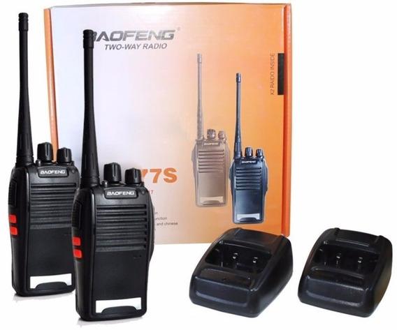 Kit 2 Radio Comunicador Profissional Com Fone De Ouvido