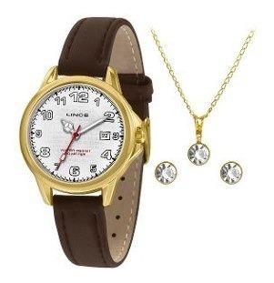 Kit Relógio Feminino Lince Lrch104l Kw60b2wx Semijoia