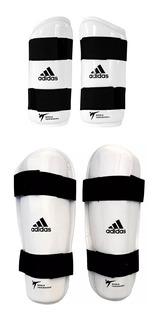Kit Proteções Canela + Braço adidas Taekwondo Originais Wt