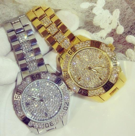 Relógio Luxo Feminino Strass Banhado Ouro Bee Sister Fa1368