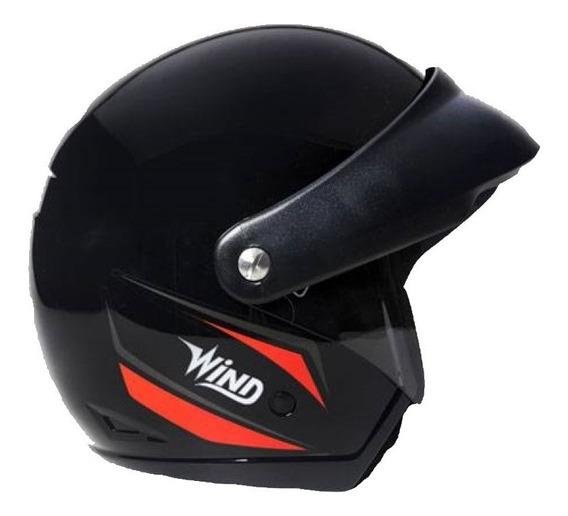 Capacete Aberto Taurus Wind C/ Viseira V3 Preto/vermelho