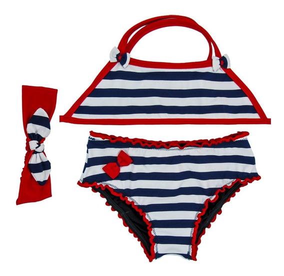 Biquíni Infantil Estampado Cropped + Turbante Moda Praia