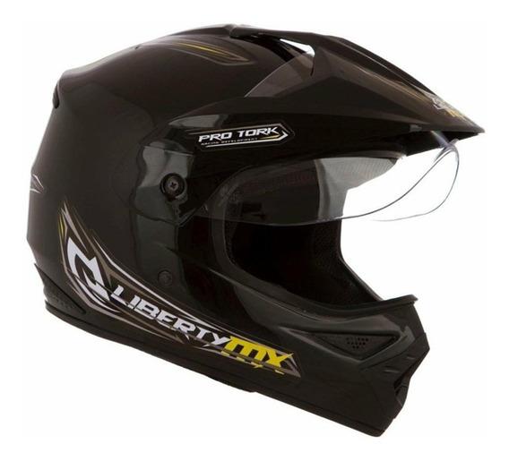 Capacete Motocross Liberty Mx C/viseira Preto Rosa Branco