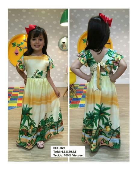 Vestido Longo Moda Infantil Lançamento Tendência