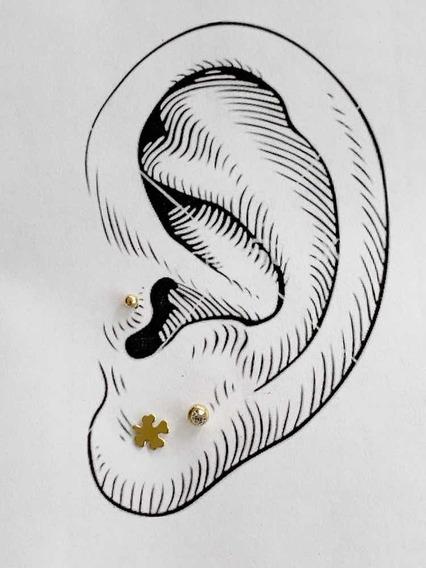 Pack De 3 Pares Piercings Chapa De Oro 22k Mod 2