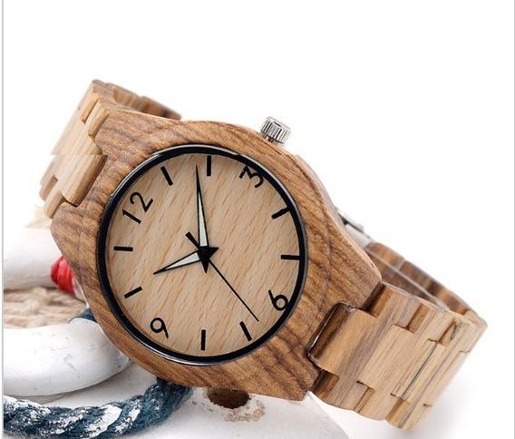 Relógio Quartzo Bobo Bird Bambu Em Madeira Zebrado Original