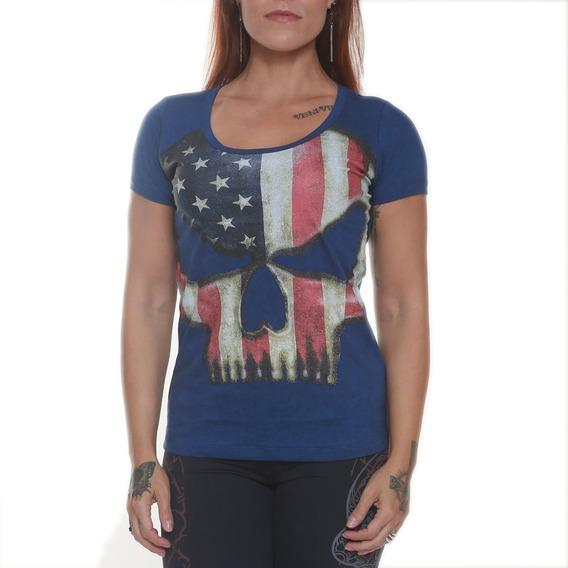 Camiseta Feminina - Baby Look - Black Skull Usa
